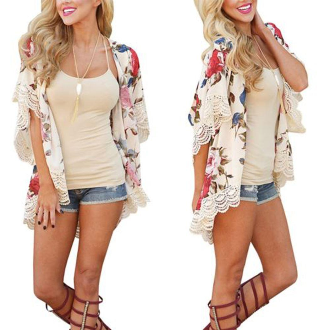 f8c9592f3799c8 Clothing, Shoes & Jewelry Womens Floral Print Short Sleeve Shawl Chiffon  Kimono Cardigan Casual Blouse Tops