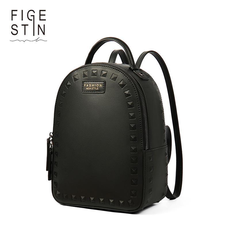 6f9fd573deea Rivet Split Leather Backpack Women Designer School Bags For Girls Luxury Female  Shoulder Bag Women Bags Mochila Online with  127.61 Piece on Shoe80777 s ...