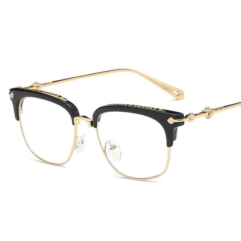 Compre Cubojue Homens Óculos Mulheres Estrela Óculos De Marca Quadros Para  Homens De Luxo De Ouro Quadrado Metade Aro Claro Lente Miopia Dioptria  Eyewear De ... f54f82cbb5
