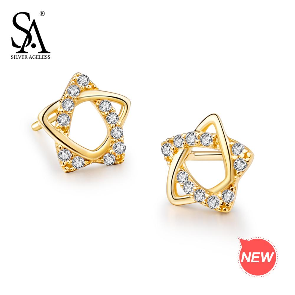 fcdec79680d92 SILVER AGELESS 9K Yellow Gold Star Stud Earrings for Women AAA Zirconia  K-Gold Earrings 2018 Fashion 925 Silver Earring