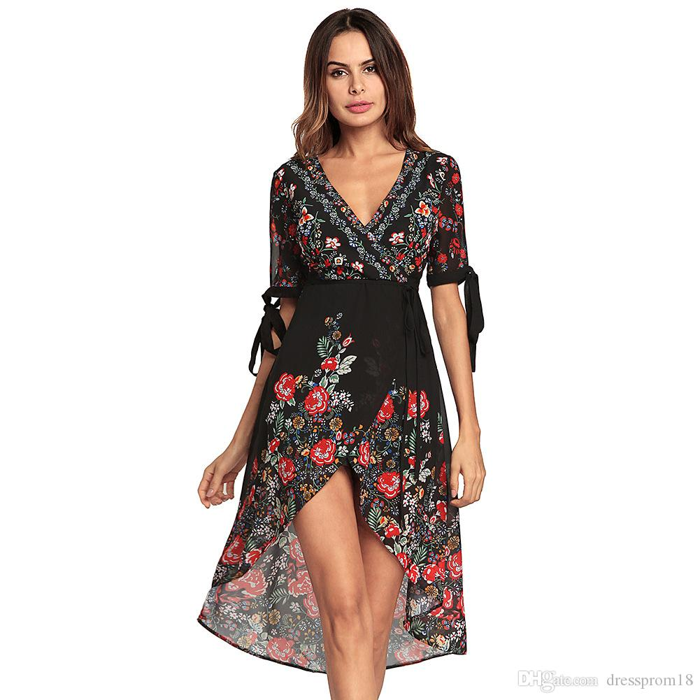 70ec29f3ed9 Womens Bohemia Floral Printed Summer Casual Dresses 2018 Sexy V Neck ...