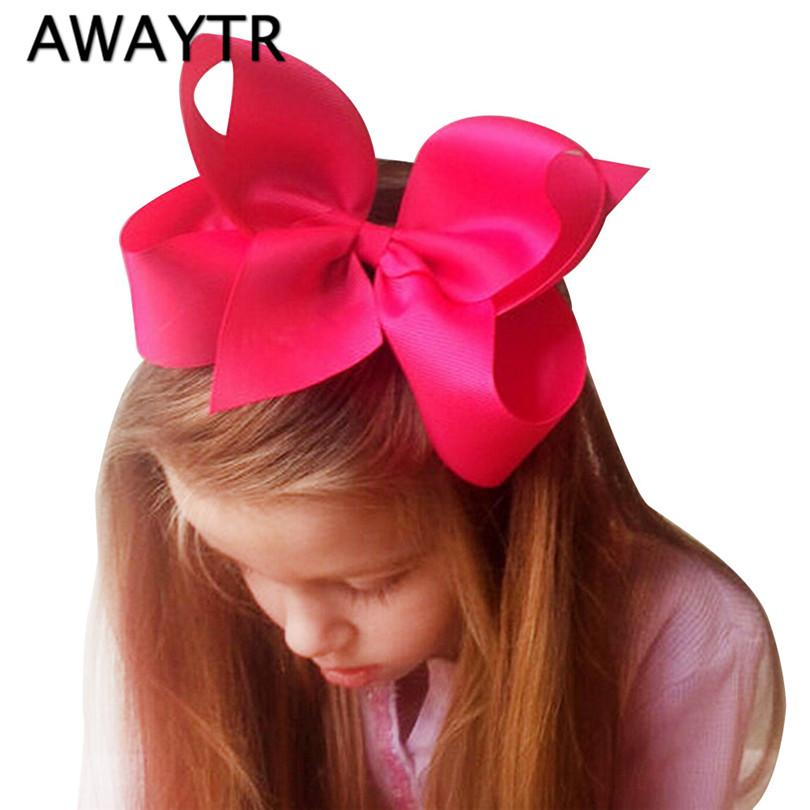 Awaytr 6 Inch Big Bows For Girls Hair Solid Ribbon Bows With Clip