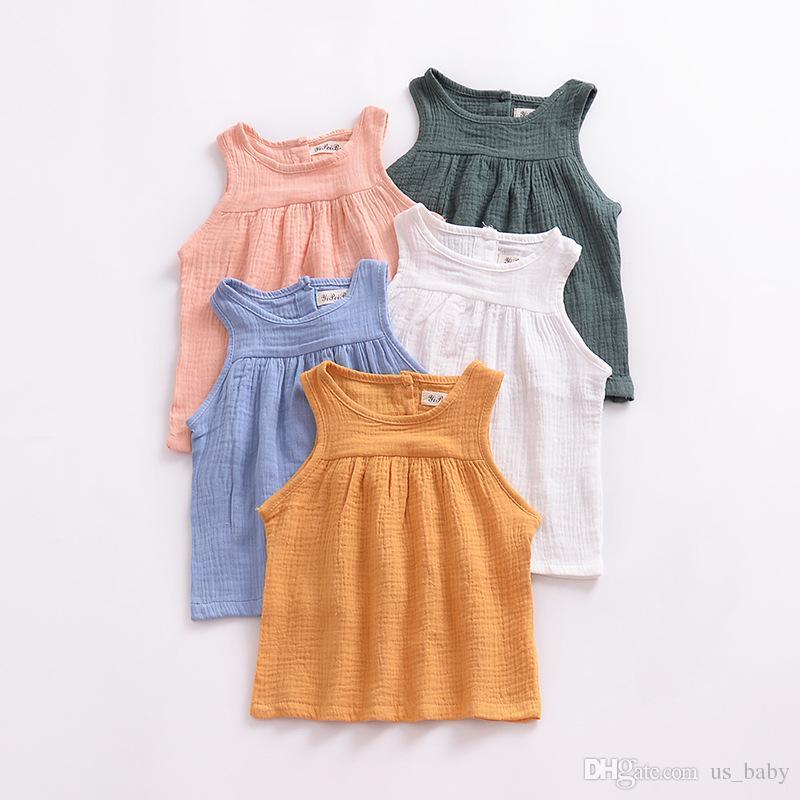 طفل الفتيات الصيف قمم الاطفال أكمام بلوزة الكتان القطن ملابس الأطفال لينة مريحة طفل الملابس 5 ألوان 5 الحجم