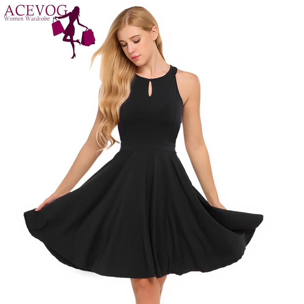 ACEVOG Women Dress O-Neck Sleeveless Keyhole Solid Cocktail Party Pleated  Dress Spring Summer 2018 Femme Robe De Femme Dresses Cheap Dresses ACEVOG  Women ... 17a675ec8