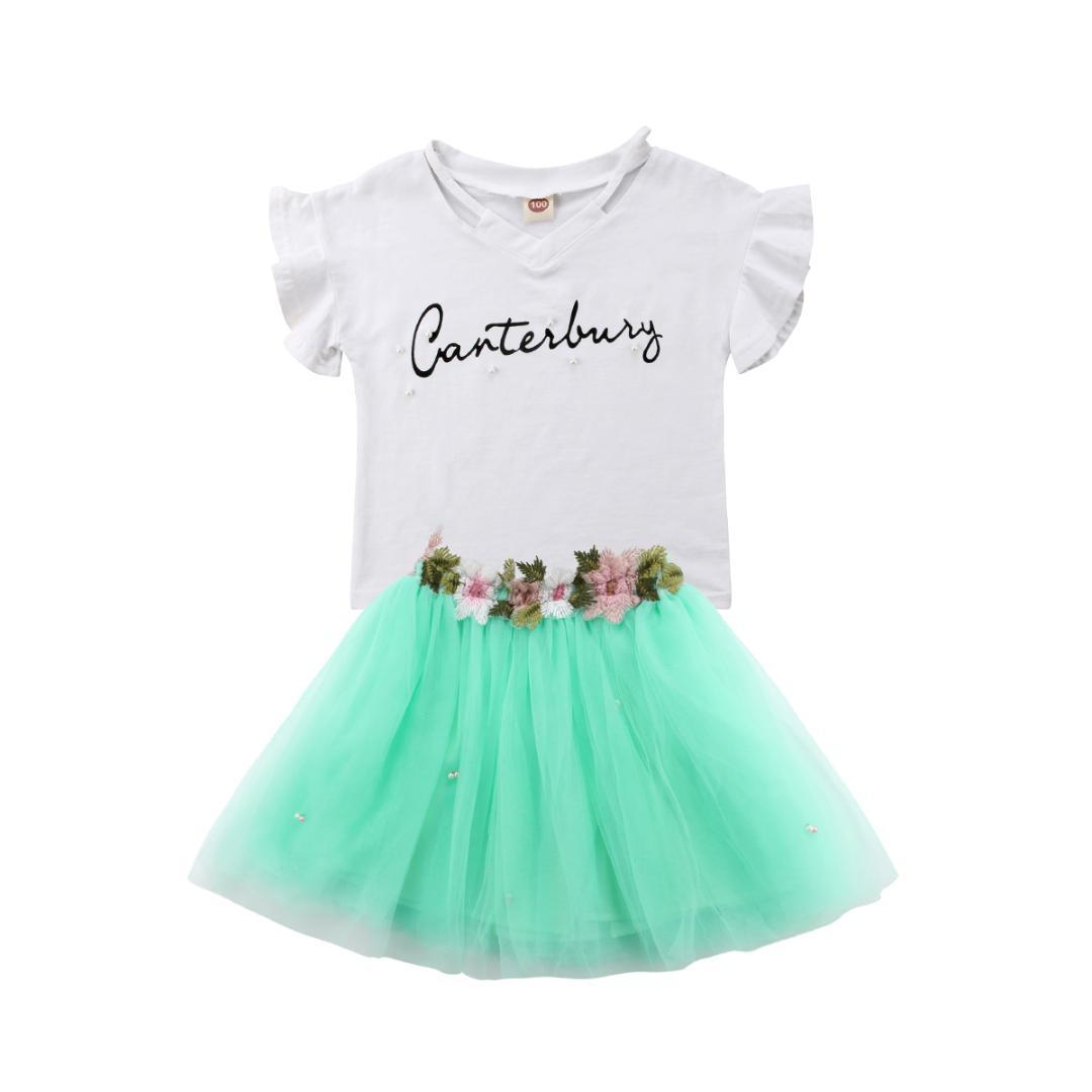 f03480a3d49 2019 2 7T Kids Child Baby Girls Clothes Sets T Shirt Short Sleeve Shirt  Tops Flower Tutu Skirts Clothes Princess Set Girl 2 7T From Windowplant