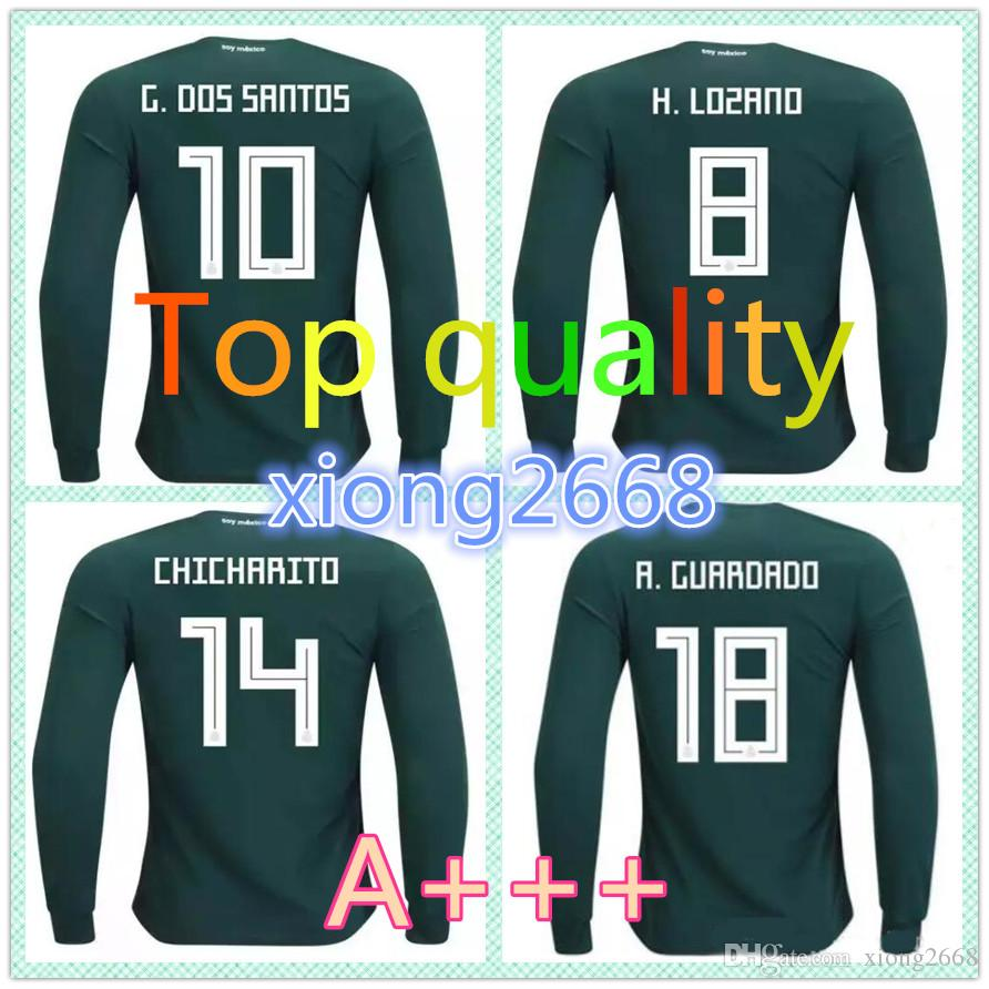 0bfa5ab7 ... purchase top thai quality mexico long sleeve soccer jerseys 2018 world  cup chicharito g.dos