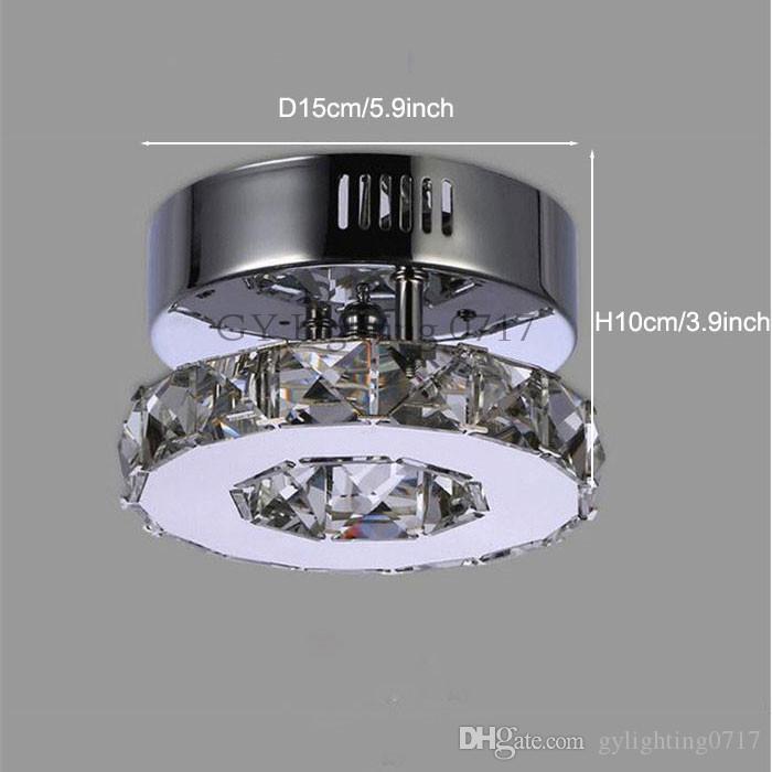 corredor levou minimalista único anel D15cm lâmpada do teto de cristal ilumina inoxidável corredor de aço casa varanda sala de jantar iluminação