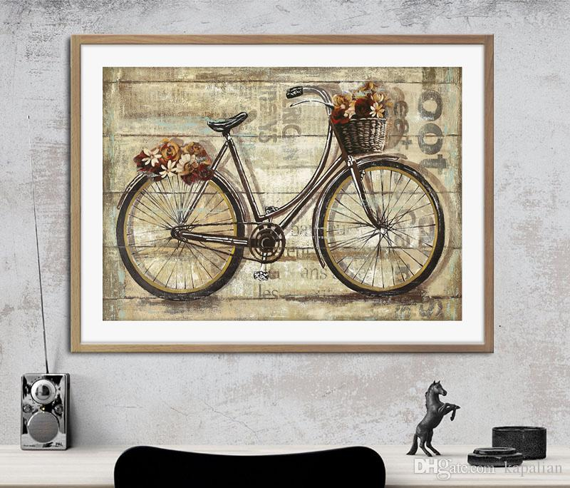 Concise Style Bike Flower Art Poster Wall Decor Pictures Art Print ...