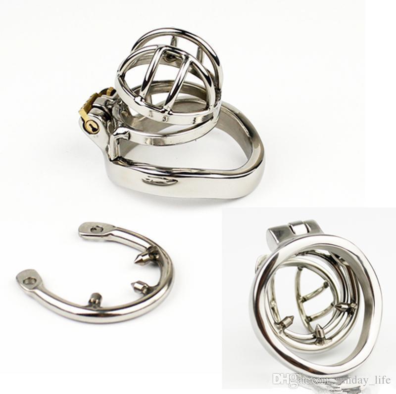 NUOVO acciaio inossidabile super piccolo gabbia di castità maschile con anello anti-off BDSM giocattoli del sesso gli uomini dispositivo di castità 35mm corto gabbia SN273-1