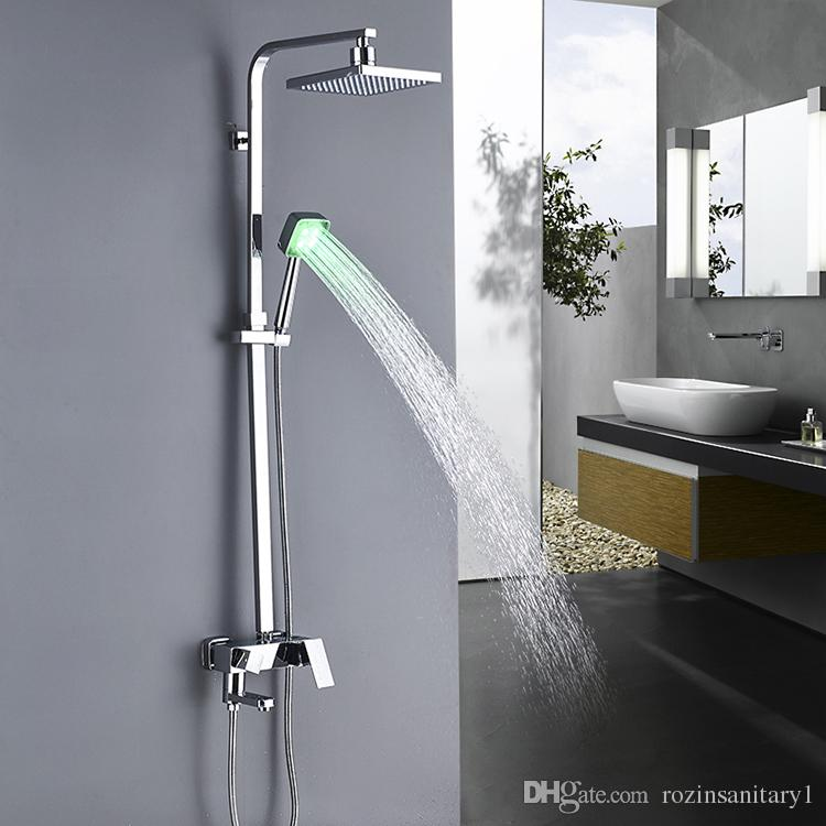LED Faucet Bathroom 8 Inch Chrome Shower Faucets Tub Hand PLASTIC Shower head Mixer Tap Wall Mount One Handle Contemporary