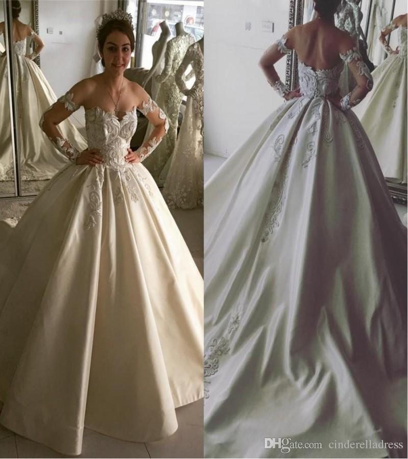 Vintage Ball Gown Wedding Dresses 2018 3D Flora Appliques Sheer Long Sleeves Open Back Sweep Train Bridal Gowns Church
