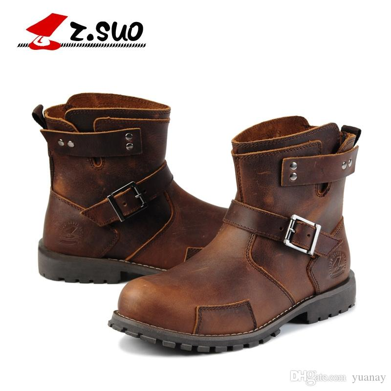 Spring New Retro cowhide Men's Boots,Slip on Outdoor Casual Shoes, Leather Hiking Boots for Men