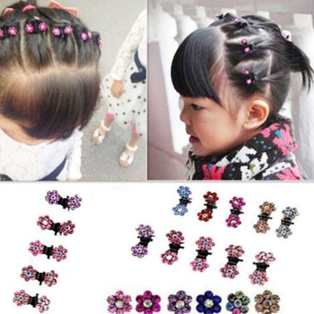 Baby Girl Lady Crystal Flower Mini Hair Claw Clamp Hair Clip Alloy