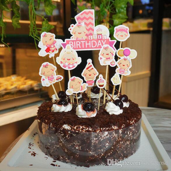 Grosshandel Baby 1 Geburtstag Kuchen Topper Madchen Jungen Baby