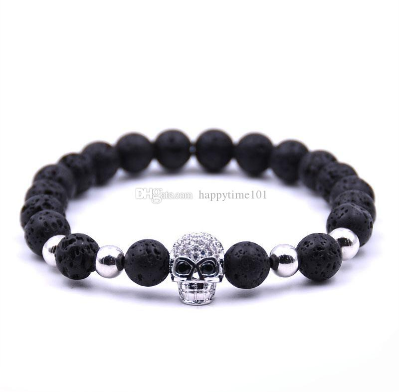 Neue Produkte Weihnachtsgeschenk Lava stein Perlen schwarz Schädel Yoga Armbänder Männer Party Schmuck Geschenk freies verschiffen
