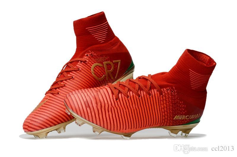 Rouge Or 100% Original Chaussures De Football CR7 Cristiano Ronaldo Hommes Mercurial Superfly FG TF Football Bottes Sneakers Meilleure Qualité Cales De Football