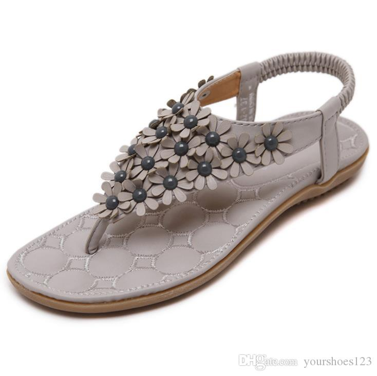 5fa333928 2018 Summer New Fashion Large Size Comfortable Flip Flops Sandals Flowers  Buckles Elastic Women  Beach Shoes Casual Flat Sandals Prom Shoes Silver  Shoes ...