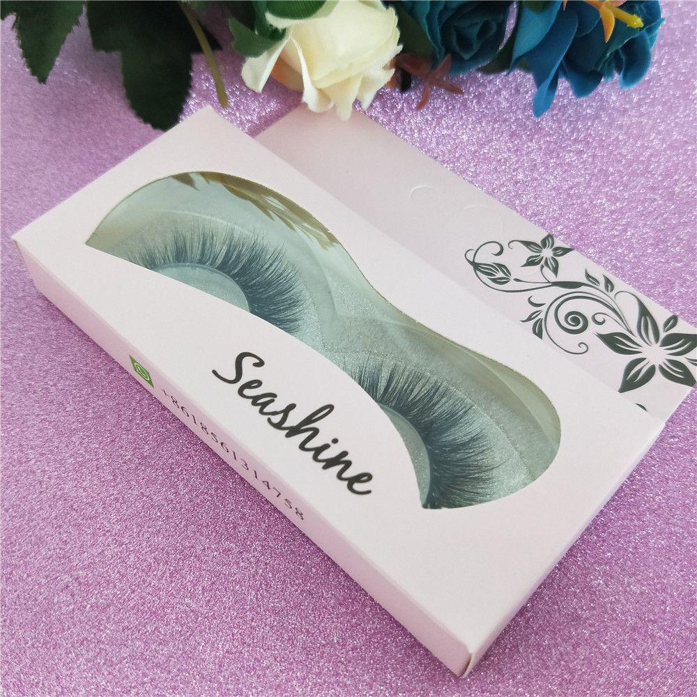 Seashine handmade 3D strip full eye ciglia naturali lungo cotone bond false visone ciglia extension vassoio con imballaggio personalizzato