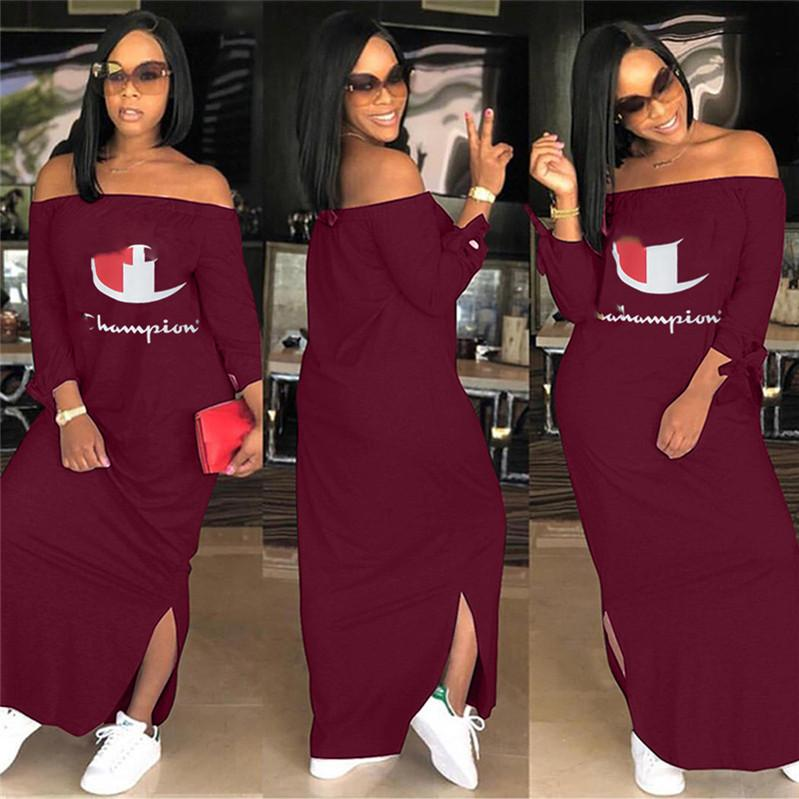 53c894feeba 2019 Women Champions Letter Dress Brand Shoulder Out Split Long Hoodie  Dresses Autumn Fall Long Sleeve Off Shoulder Skirt Plus Size Clothing Hot  From ...