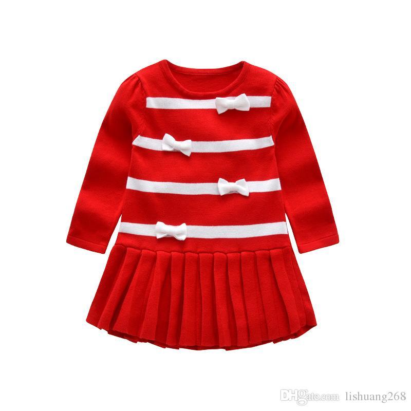 48ecb421a5d2 2018 Autumn Winter Girls Sweater Dress Bow Kids Baby Fashion Wild ...