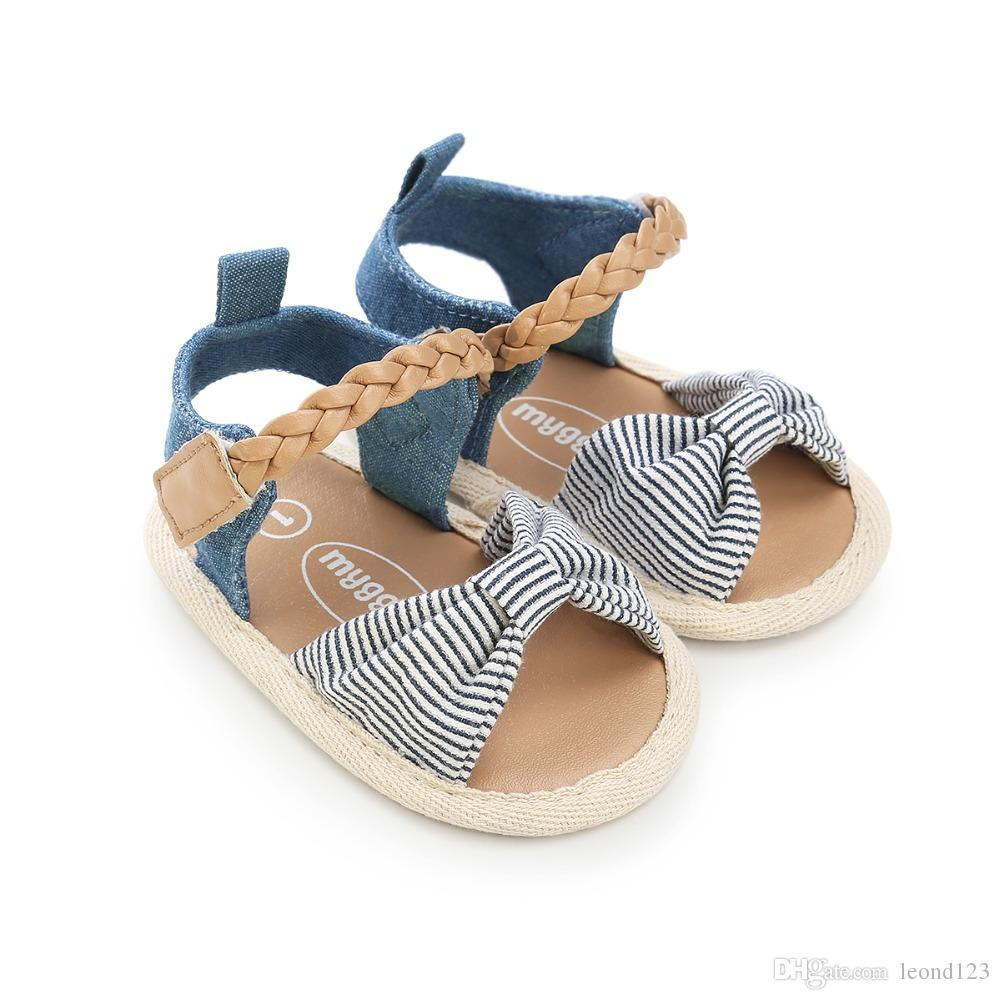 Canvas bow Soft Sole PU Baby girls First Walkers Shoes Fashion summer Prewalkers First walkers toddler moccasins Newest