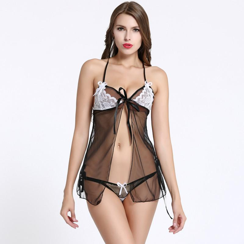 2085bb3df0e 2019 Sexy Open Babydoll Sexy Lingerie Erotic Hot Sex Costume Floral Lace  Short Mini Sleepwear Nightwear Exotic Apparel Black Dress From Nakewei