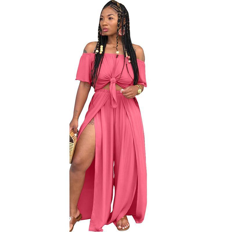 6d8f28f756 Cheap Women Loose Set 2018 Off Shoulder Pleat Crop Top And Split Long Pants  Wide Leg Jumpsuit Casual Matching Outfits