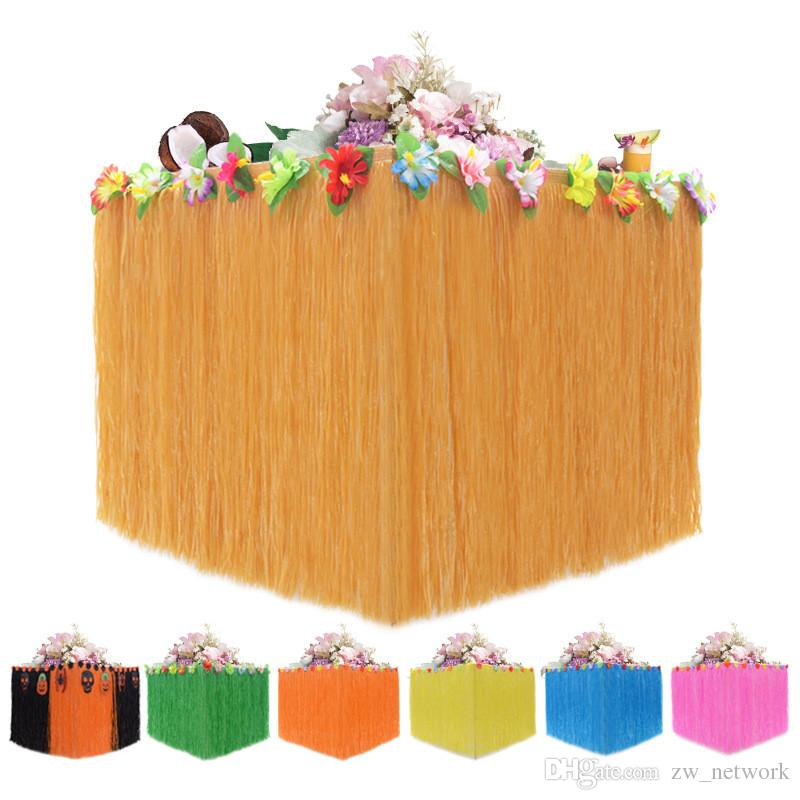 Hawaiian Table Hula Grass Skirt Faux Little Flowers Luau Hibiscus christmas Tabletop Decoration beach Party Birthdays Celebration supplies