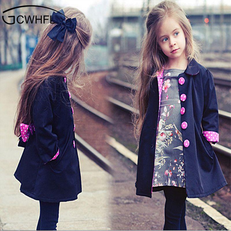 169a7ca5f433 2018 Kids 2 14 Year Wind Coats Children Outerwear Fashion Girl Coat ...