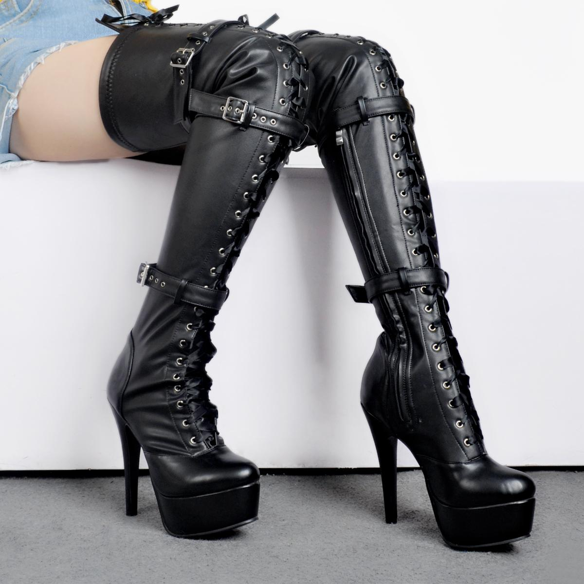 826f9374888e Women Fashion Thin High Heels Platform Sexy Fetish Pointed Toe Buckle Over  The Knee Thigh High Dance Boots Mid Calf Boots Womens Ankle Boots From ...