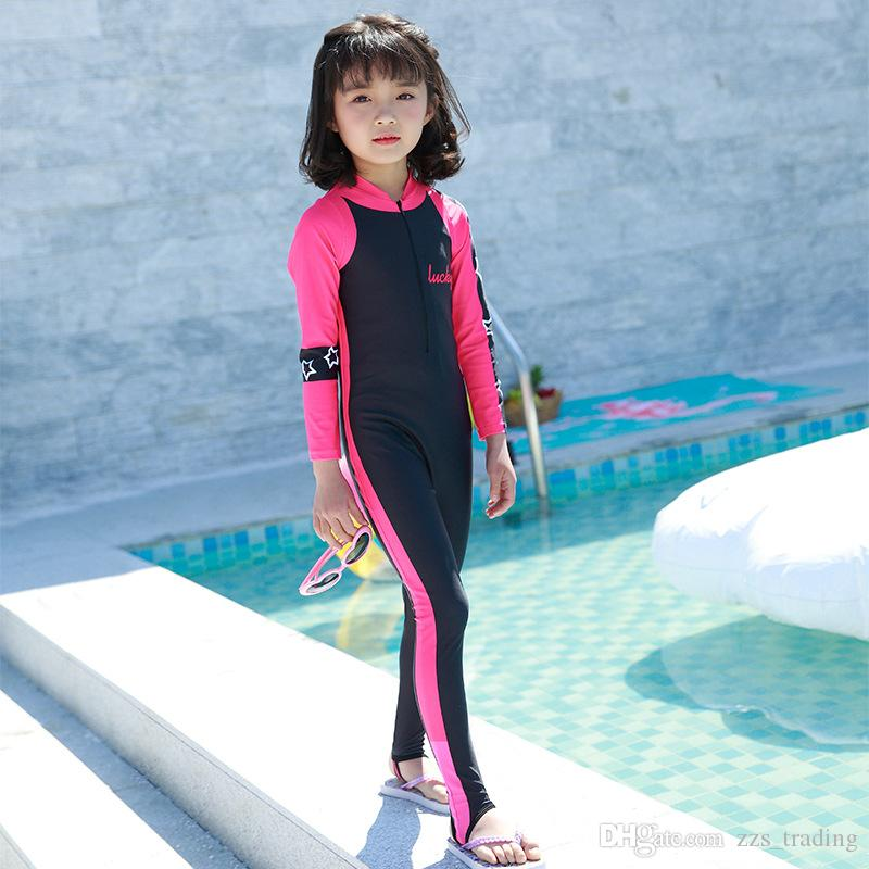 45e0a98639 2019 New Long Sleeved Dive Skin Suit Kids Wetsuit Girl Child Surf Stinger  Wet Suit Rash Guards Surf Snorkeling Swimwear Soft Warm Hot Products From  ...