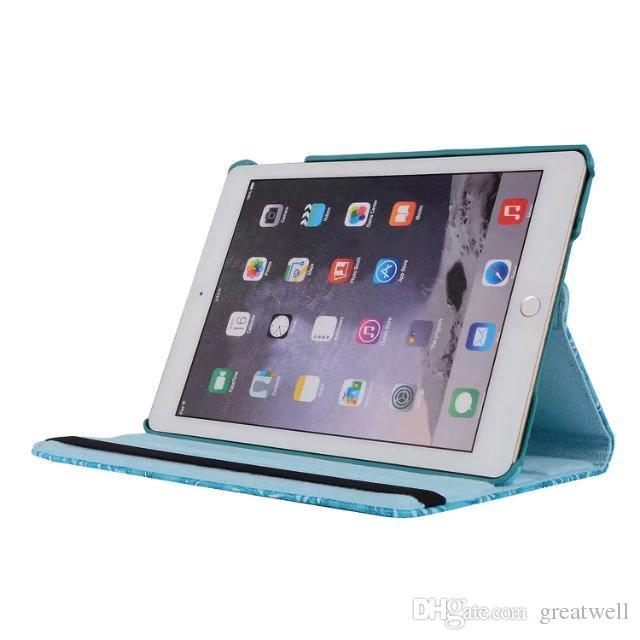 Luxury Girl Grape Grain Pattern PU cuero 360 grados Cubierta giratoria Soporte del soporte iPad Mini iPad 2/3/4 5 6 Nuevo ipad 2017 Pro 9.7 10.5
