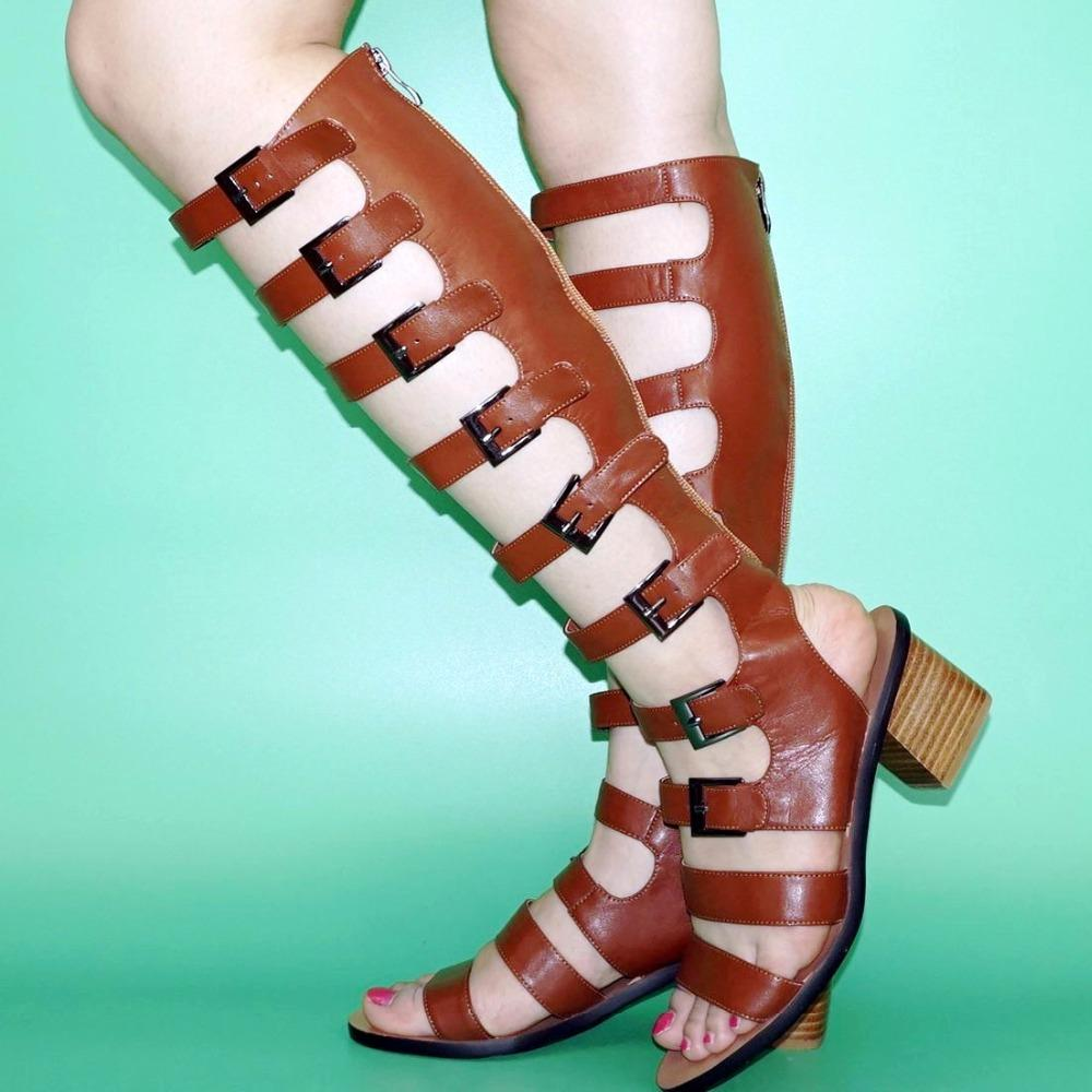 0605670e28b Fashion Sandals Women Strappy Buckle Knee High Gladiator Sandals Ladies  Summer Boots Evening Party Shoes Plus Size 35 43 Knee High Gladiator  Sandals Sandals ...