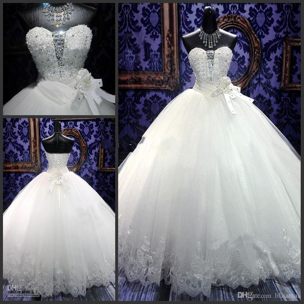 Sell Wedding Dress.Hot Sell Wedding Dresses 2019 Spring Elegant Ball Gowns Bling Beaded Crystal Sweetheart Neck Lace Up Puffy Quinceanera Tulle Dress 18