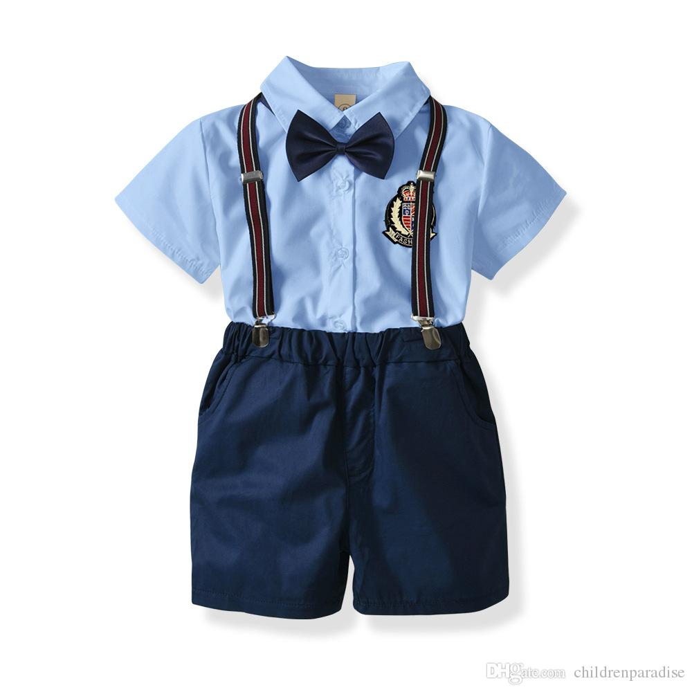 b483996f 2019 2018 Boys Clothes Summer Toddler Baby Boys Clothing Sets Short Sleeve  Bow Tie Shirt+Strap+Shorts Pants Formal Gentleman Suits From  Childrenparadise, ...