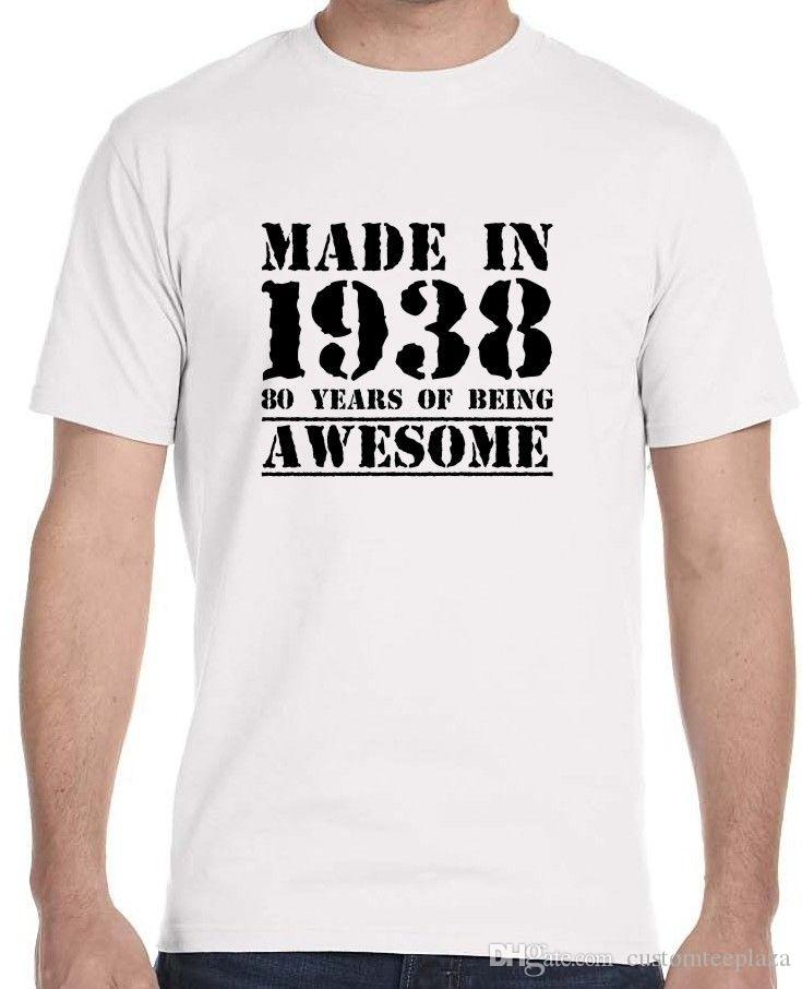 Made In 1938 80 Years Of Being Awesome MenS 80Th Birthday T Shirt Men ManS Funny Short Sleeve Thanksgiving Day Custom 3XL Family Buy