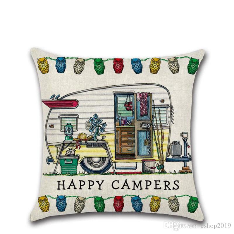 Mutlu Kampçılar Touring Araba Yastık Atmak Keten Yastık Kılıfı Kanepe Minder Kapak 45 * 45 CM Ev Cafe Ofis Dekor Hediye eve taşınma Partisi için