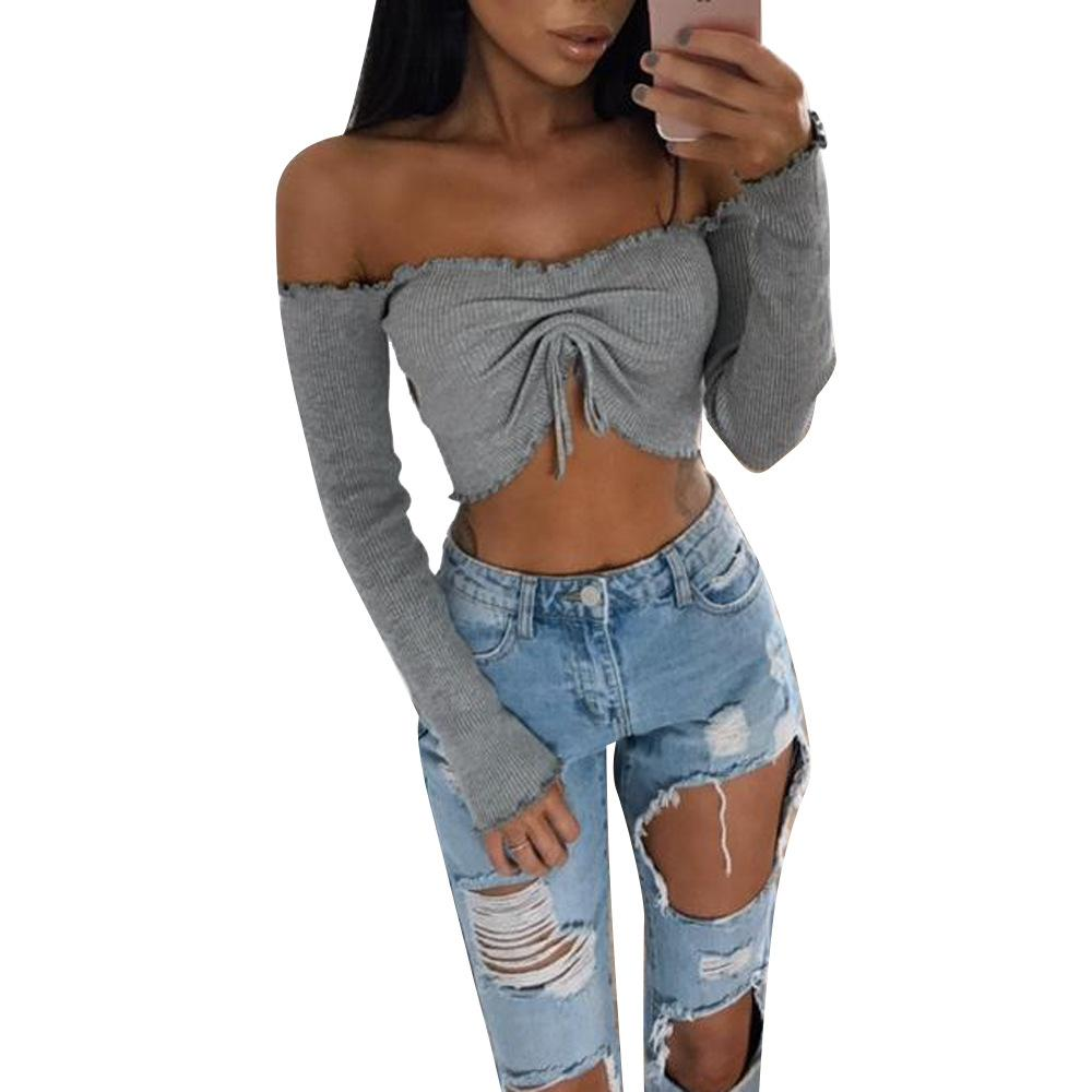 c6eb4c82585c0f 2019 Sexy Women Strapless Crop Top Boat Neck Tube Top Ribbed Nightclub  Bustier Casual Blusas Ribbed Crop Top Mujer T Shirt Hot Sale From  Uniformstemptation