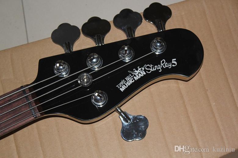 Top Quality 9V Active Pickup Black Music Man Ernie Ball Sting Ray 5 Strings Electric Bass Guitar Musicman