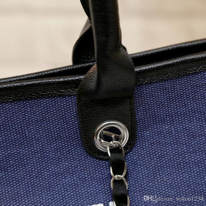 Arbeiten Sie berühmte Art und WeiseMarkenname-Frauenhandtaschen Segeltuch-Schulterbeutelketten der großen Kapazität Beutel um freies Verschiffen