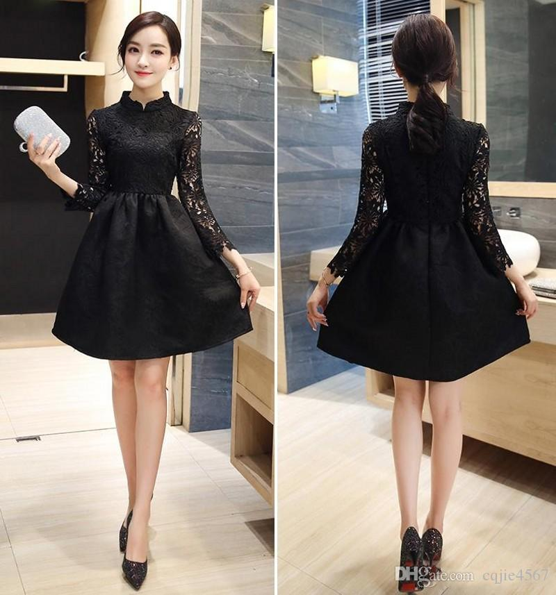 2018 New Little Black Dresses High Neck Evening Gown With Long