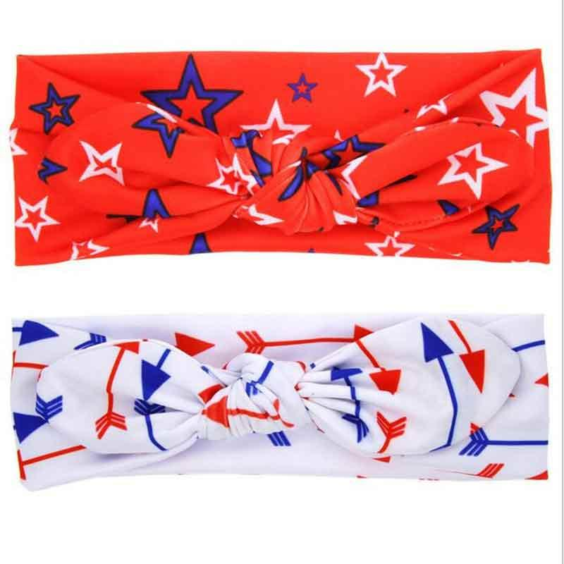 American Patriotic Day Bunny Ear Kids Hair Band Factory Directy Sales Lovely Baby Girls Hair Accessories 4th of July Headband