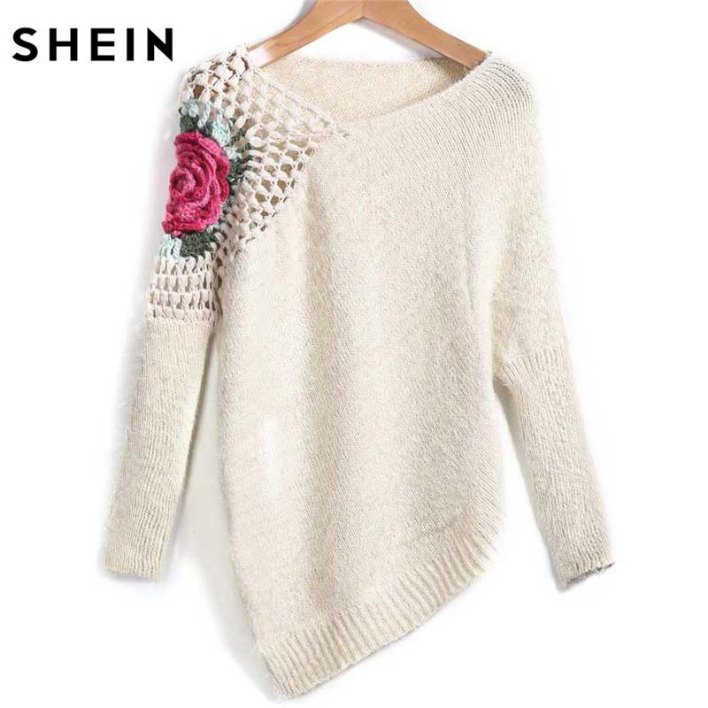 08ab4f815f6a1 2019 SHEIN Apricot Round Neck Floral Crochet Loose Sweater 2017 Fall Women  New Sweaters Embroidery Asymmetrical Pullovers D1892001 From Yizhan04, ...