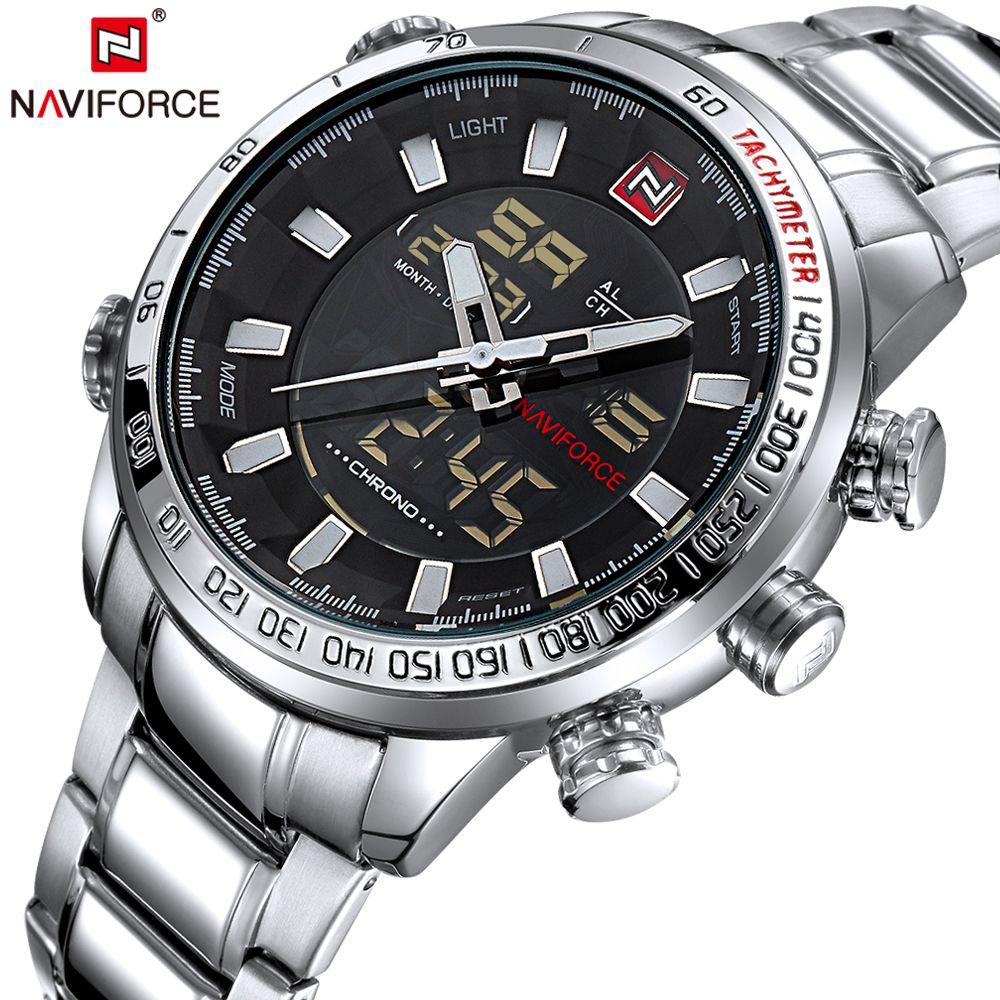 Naviforce Herren Quarz Led Analog Uhr Luxus Mode Sport Armbanduhr Wasserdicht Edelstahl Männlichen Uhren Uhr Relogio Masculino Uhren