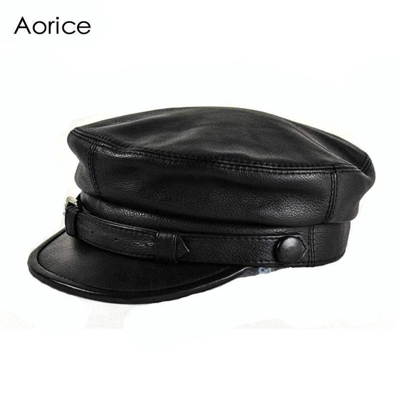 50fa9ff0ffb80c HL167 F Genuine Leather Baseball Cap Hat Men's Brand New Cow Skin Leather  Newsboy Arny Fisherman Caps Hats Black Color Lids Cap From Nectarine99, ...