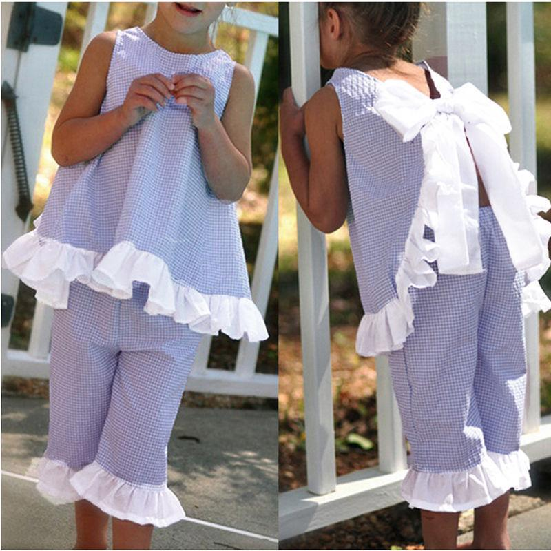 78a429c4815 Summer Girls Clothing Sets Ruffled Bow Tie Tops Pants Suits Baby ...