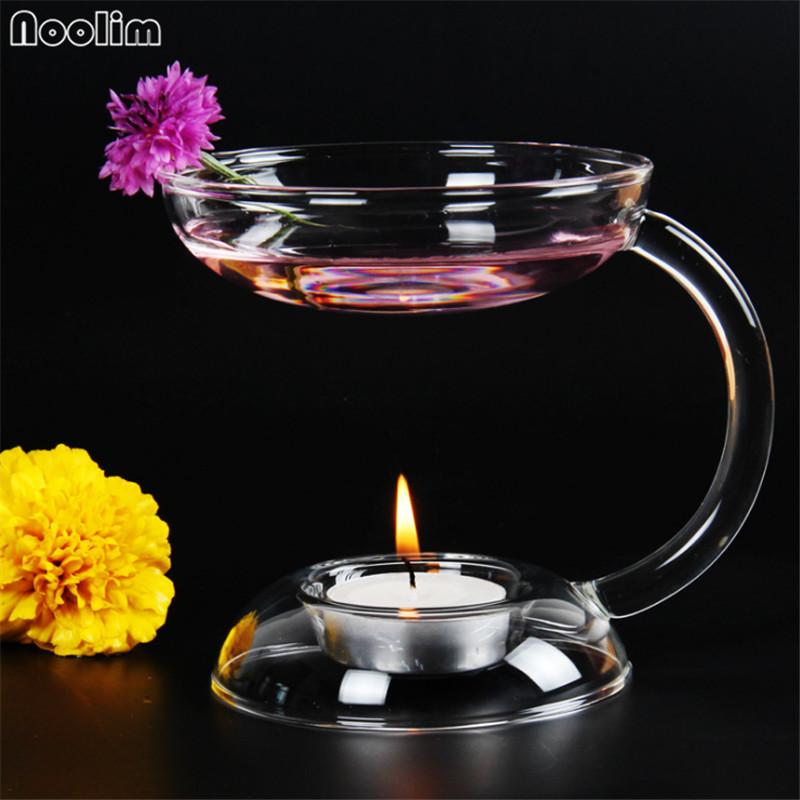 NOOLIM Oil Aroma Oil Candle Oil Hold Candelight, Incensario de incienso de moda Glass Candlestick Handmade Candle Holder