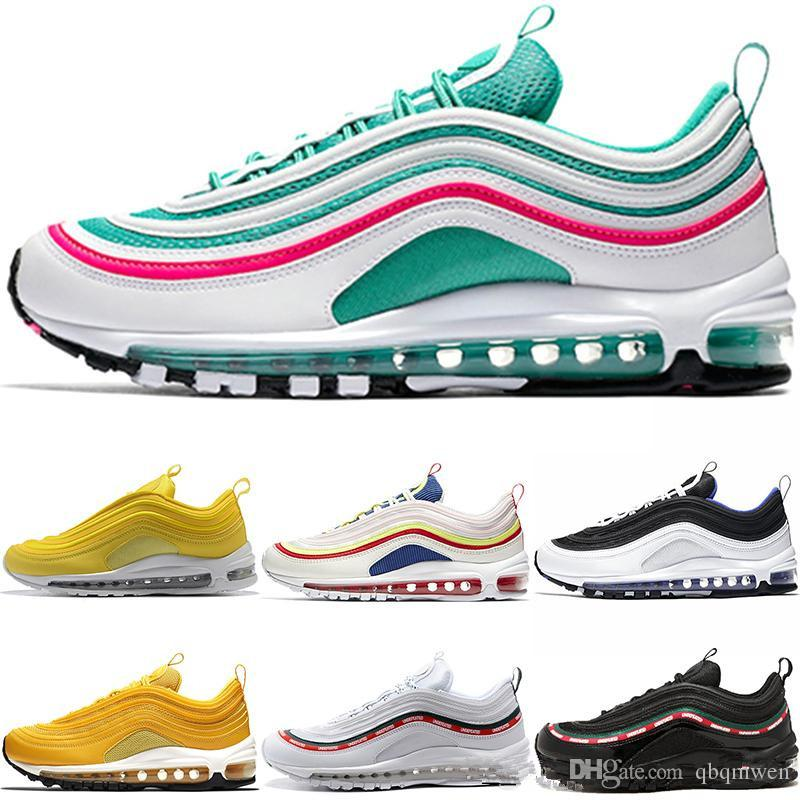 buy online bd221 2b243 Newest 97 Running Shoes Men Women Mustard Yellow South Beach SE Undftd  Triple White Black Silver Bullet Trainer Sport Sneakers Size 36 46 Running  Shoes For ...