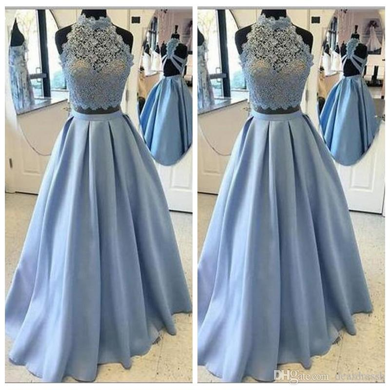 859f205ee17 2019 High Neck Lace Top Prom Dresses Party Evening Wear Sheer A Line Satin  Skirt Cheap Prom Dress Sexy Back Formal Homecoming Dress Shop Prom Dresses  Short ...