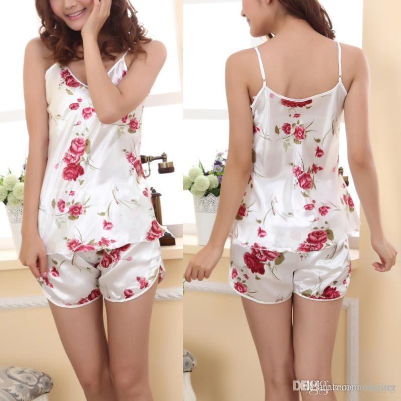867b8966afe 2019 Wholesale 2017 Sexy Women Pajamas Comfortable Sleeping Set Ladies Sleepwear  Pajamas Set Sleeveless Blouse+Shorts Underwear From Huaijing